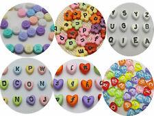 Craft DIY Acrylic Alphabet Letter Beads Various Shape Heart Flower Jewelry Make