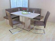 Eckbankgruppe 4-tlg. Esstisch Stühle Bank Essgruppe Farbe: Eiche San Remo/Schoko