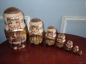 Signed Matryoshka Russian Nesting Dolls Wood Burned w/ Gold Architectural Motif