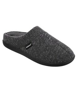 Isotoner Signature Men's Preston Knit Hoodback Slippers Gray Size M 8-9 NEW $55