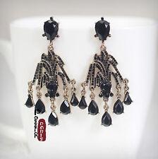 Boucles d`Oreilles Clous Goutte Chandelier Noir Art Deco Fin Vintage Ancien XX 8