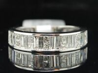 Princess & Baguette Cut Diamond Wedding Band 14K White Gold Ladies Ring 1 CT