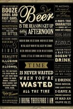 FAMOUS DRINKING QUOTES Beer Booze Alcohol poster 24x36 in