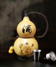 NEW Natural Pyrographing Gourds Portable Water Cup, Wine, Medicine Gourd, 花开富贵烙画