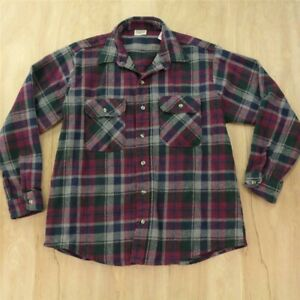 vtg usa made FIVE BROTHER flannel shirt LARGE plaid camp work distressed