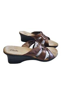 Clarks 88584 Wedge Slides Bronze Size 8.5M Leather