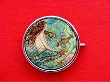MERMAID PIN UP GIRL FISH 2 ROUND METAL PILL MINT BOX CASE