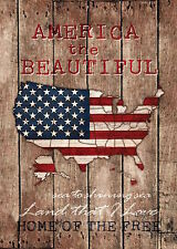 "America the Beautiful Patriotic Garden Flag USA Map Holiday 12.5"" x 18"""