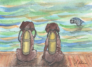 German shorthaired pointer dog orig ACEO art card mini painting by Susan Alison