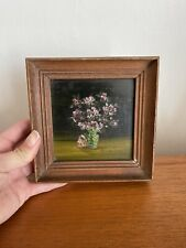 More details for vintage old small naive hand painted oil painting a vase of flowers still life