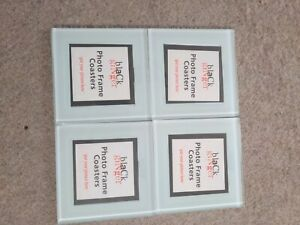 Black Ginger- Set of Four Glass Photo Coasters in white