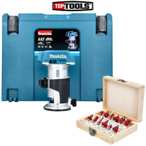 """Makita DRT50ZJ 18V Brushless Router/Trimmer + WC-RB12 12 Pieces 1/4"""" Cutter Set"""