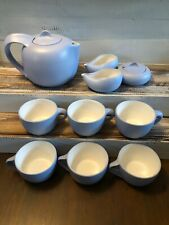 Elsa Peretti Tiffany Co Italy Thumbprint 10 Piece Tea Set Pot Sugar Creamer Blue