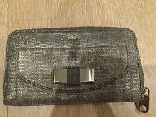 Brand New with Tag Chloe Leather Lily Wallet with Bow Details in Pewter Colour