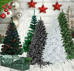 NEW CHRISTMAS TREE THICK PLANT ARTIFICIAL XMAS METAL STAND 4FT,5FT,6FT,7FT,8FT