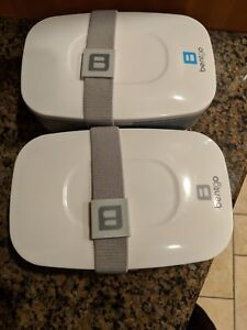 LOT OF 2 NEW Bentgo All-in-One Stackable Lunch/Bento Box, Grey and Blue