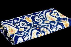 Multi Blue Paisley Handmade Bedding Kantha Quilt Bedspread Throw Cotton Blanket