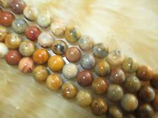 "Nature 8mm yellow Crazy Lace Agate Round Beads Gemstone 15""##KH077"