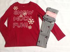 Gymboree Penguin Chalet Size 5 Print Leggings 5-6 Snowflake Red Shirt NWT