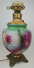 Antique Hand Painted Floral Gone With The Wind Oil Lamp Base Converted Electric