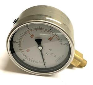 """NoShok 40-901-100 Glycerin Filled Pressure Gauge 100 PSI 1/4"""" NPT Bottom Mount"""
