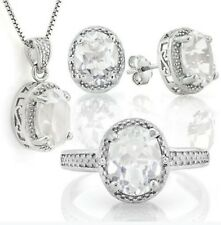 WHITE TOPAZ & DIAMOND SILVER NECKLACE EARRING & RING SET 8.25 CWT NATURAL