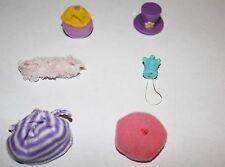 Littlest Pet Shop Hat Accessory Lot 6pc Set LPS Toys Pink Purple Blue Beret