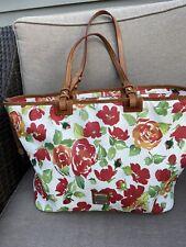 Dooney Bourke bag tote floral Red/ Orange Roses Shopper 12x 18.5 Rare