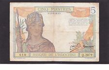 French Indochina 5 Piastres  1946 P-55C    F