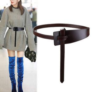 Women's Real Leather Wrap Around Self Tie Obi Cinch Waist Belt Boho Waistband