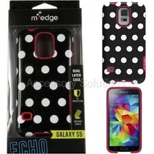 Samsung Galaxy S5 M-Edge Echo Soft Silicon Hard Case Cover Black Polka Dots