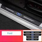 4 Pcs Car Logo Threshold Protection Sticker Luminous Carbon Fiber Fit All Ford