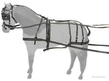 Leather Driving Show Harness with Silver Spots - Pony Size - Black Leather
