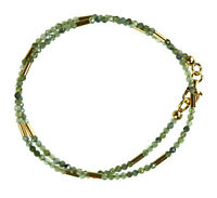 Turmalin grün Wickel-Armband 925 Silber vergoldet Armkette Z386