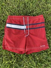 Tommy Hilfiger Men's Lined Swim Trunks Shorts • Size Medium Flag Logo Red