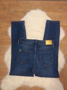 Anne Klein Women's Size 8P High Rise Slim Straight Blue Denim Jeans Stretch