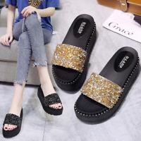Women Platform Slippers Sequin Sandals Open Toe Wedge Shoes Slip On Glitter Mule