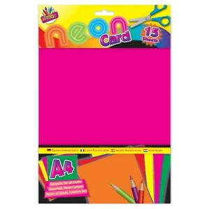 Brand New Sealed:- Tallon Artbox A4 Neon Card Pack of 15 Sheets Arts/Craft/Kids
