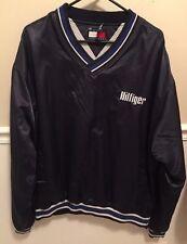 VTG Tommy Hilfiger Navy 90s Windbreaker Pullover Spell Out Satin Jacket Mens XL
