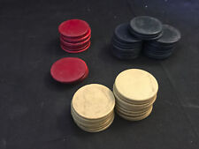 Old Vtg Collectible Lot Of 53 Smooth Red White & Blue Clay/Bakelite Poker Chips