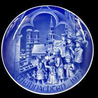 Vintage Weihnachten 1972 Bareuther Christmas Plate Bavaria Germany Church Blue