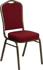 10 Pack Banquet Chair Burgundy Fabric Restaurant Chair Crown Back Stacking Chair