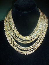 ART Signed LAYERED GOLDPLATED CHAIN  NECKLACE Estate Jewelry Vintage Classy!