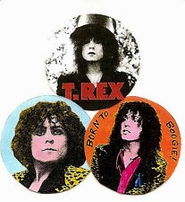 3 MARC BOLAN BADGES. T REX, Glam, 70's.