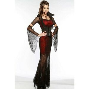 STUNNING SPIDERS WEB VAMPIRE COSTUME GENUINE UK SIZE 6-16 NOT ONE SIZE FITS ALL
