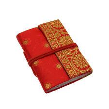 Fair Trade Handmade Mini Sari Fabric Notebook Diary Single Bound Red