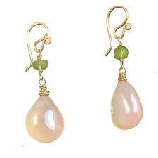Sicily 011 ~ Rose Chalcedony Drop Earrings with Metal Choice