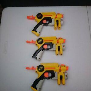 Lot of 3 Nerf Red Dot Gun Blasters Single Dart Yellow and Grey