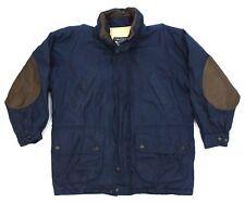 Nautica Navy Blue Jacket Parka Leather Elbow Patch Trim Size M