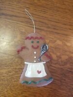 Vintage Resin Gingerbread GIRL Ornament Christmas/Holiday Decor Chef Apron Spoon